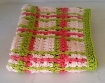 Handmade Crochet Super Absorbent and Soft Face and Hand Towel, Kitchen Towel, 100% Cotton, Soft Pink, Bright Pink, Bright Green