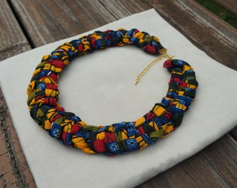 African Print Full Bib Necklace