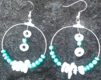 Wire wrapped exotic puka-shell hoop earrings