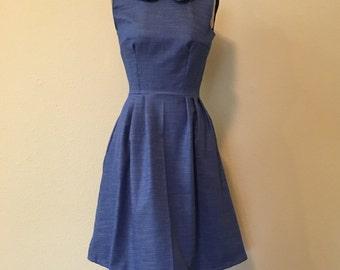 Peter Pan collar dress/with pockets/ gathered skirt / custom made
