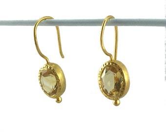 Gold-plated Sterling Silver Citrine Crystal Earrings