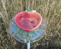 Re-purposed Ceramic Bird Feeder, Staked Glass Bird Feeder, Glass Bird Feeder Pole, Apple Garden Decoration, Lawn Art, Garden Art, Yard Art