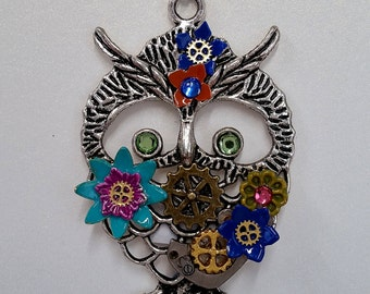 Colorful Steampunk Owl Pendant