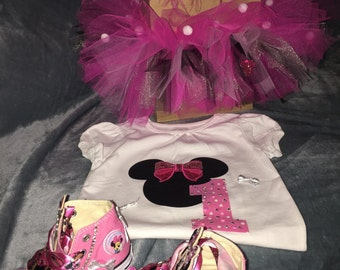 Minnie set-shoes, tutu, shirt, headband