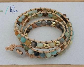 Sea and Sand Leather Wrap Bracelet