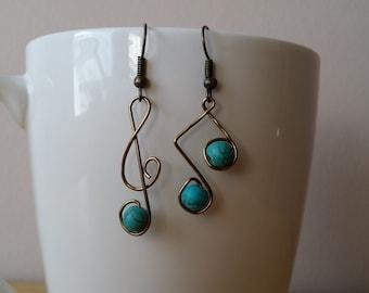 Music Note Earrings, Treble Clef Earrings, Music Note, Treble Clef, Wire Wrapped Earrings, Wire Wrapped Jewelry, Hypoallergenic Earrings