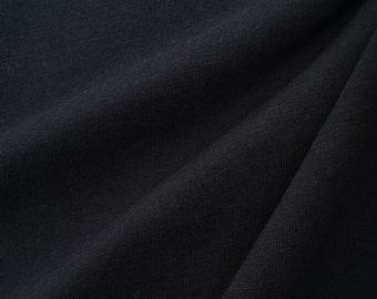 100% Cotton Jersey Fabric (Wholesale Price Available By The Bolt) USA Made Premium Quality - 2085R Black - 1 Yard