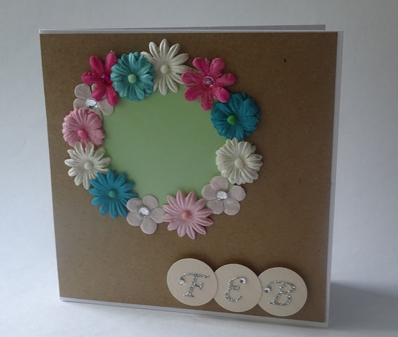 Greeting Cards - Handmade February Monthly Kraft Card with Flowers