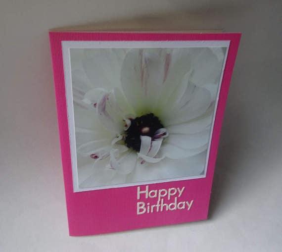 Handmade Birthday Card with White Ranunculus Flower - #1282