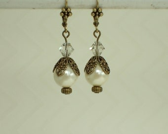 Ivory Hemalyke Beaded Brass Earrings