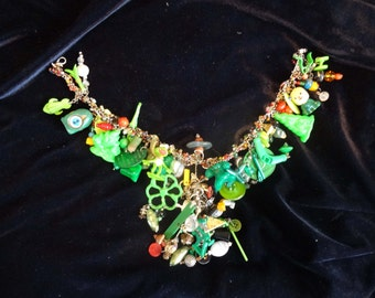 Green themed recycled and reclaimed necklace