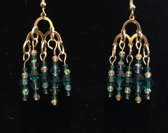 Blue and clear Swarovski crystal chandelier earrings in silver.