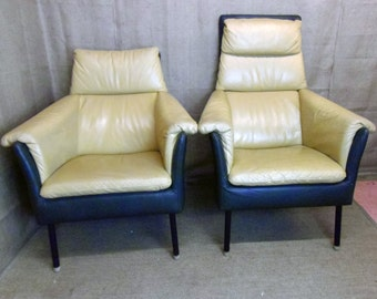 Pair of vintage retro leather armchairs, his 'n' hers, King & Queen style, easy chairs