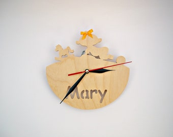 Wooden wall clock handmade Personalized wooden clock Nursery Decor Kids Room Eco-friendly For gift