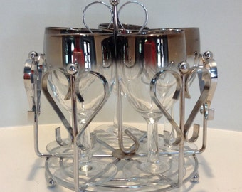 Vintage Mid Century Modern Dorothy Thorpe Set Of 5 Silver Fade Wine Glasses With Metal Caddy
