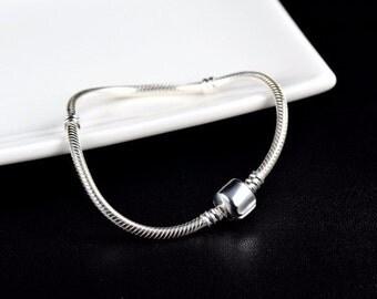 Silver Bracelet, Snake Bracelet, Charms Bracelet, Beading Bracelet, Compatible With Pandora Charms, Bracelet For Charms,Silver