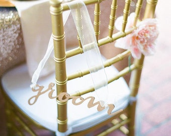 Gold Bride Groom Laser Cut Calligraphy Chair Back Signs