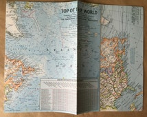1965 National Geographic Map of Arctic Circle. Vintage Map Top of the World