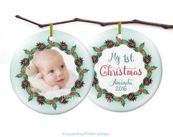 Babys first Christmas ornament Christmas photo ornament Personalized Christmas ornament Photo Christmas ornament