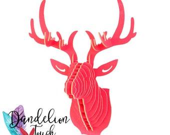 Deer head 3D - Puzzle in wood - pink Watermelon