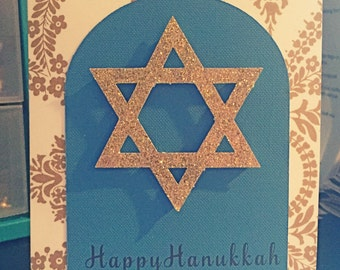 Star of David Happy Hanukka card