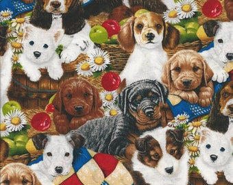 Puppies in a basket many breeds,Sykel fabrics