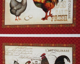 French Country Roosters, Panel.16x11.5 panel. Red rooster Fabrics