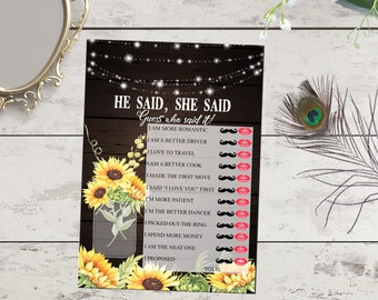 He said she said bridal shower game Printable, rustic wood and sunflowers, string lights. Printable Bridal Shower Games. Floral fall invite