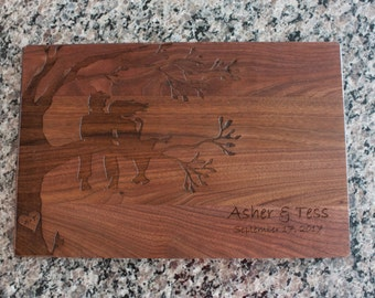 Cutting Board Personalized Laser Engraved  Two sitting in a  Tree