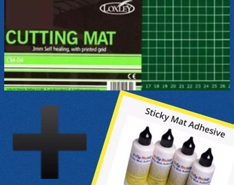 1 x a4 self healing cutting mat and 1 x cutting mat glue
