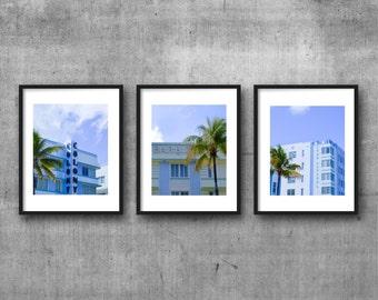triptych, printable art, instant download, colour photography, home decor, wall art, 8x10 print, art deco, retro, south beach, miami