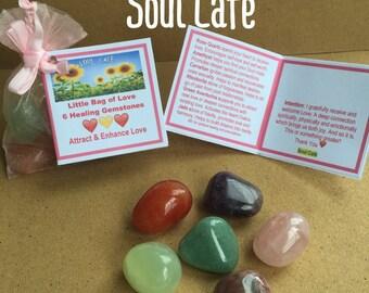 Manifesting Love Gift, 6 Tumblestones - Healing Crystal Gemstones - Rose Quartz - Amethyst Carnelian - Rhodonite – Aventurine - Jade