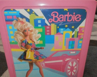 barbie doll carry case pink  plastic storage for dolls and clothes pink 1989 vintage
