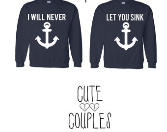 Anchor couple hoodie sweater friends