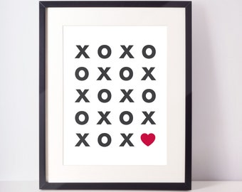 XOXO Heart Digital Print, Typography Print, Black and White Decor, Wall Art, Wall Decor, Home Decor, Office Wall Print, Baby Nursery Print