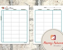 Printable 8 Subject / Assignment Weekly Lesson Plan Planner - 2 Page - Four Seasons Collection UPDATED