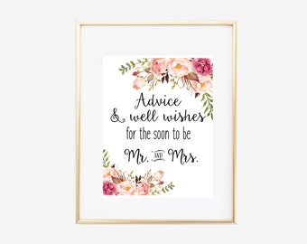 Advice Sign, Advice Poster, Advice and Well Wishes for the Soon to be Mr and Mrs, Wedding Advice Sign, Advice Poster, Bridal Shower Decor