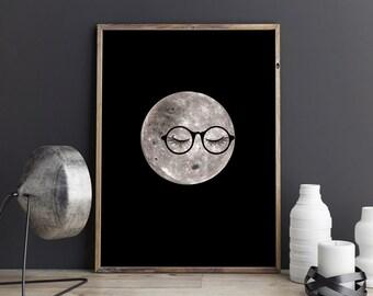 Dorm decor, PRINTABLE art, Dorm room decor, Funny art, Moon art, Moon print, Funny posters, Dorm posters, Moon nursery art, Cute home decor