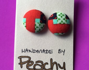 20mm Patchwork Fabric Studs