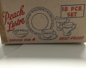 Peach luster service for 4 original box