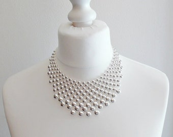 Silver Large Statement Bubble Necklace