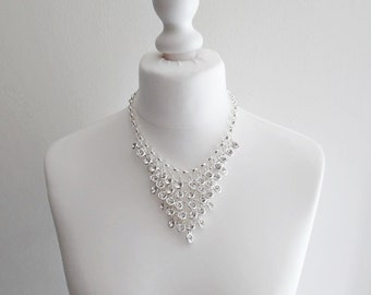 Diamante Chandelier Waterfall Silver Necklace