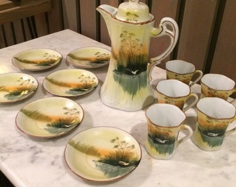 Vintage Handpainted Coffee or Chocolate Set, made in Japan