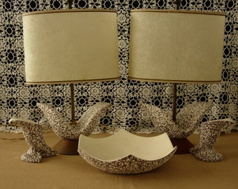 Mid-Century Modern 5 Piece Set Royal Haeger Lamps