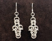 Byzantine Cross Chainmail Earrings - Sterling Silver