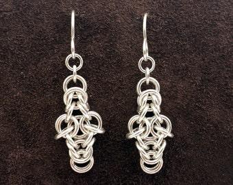 Byzantine Cross Chainmail Earrings - Sterling Silver