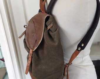 Leather & Cotton Backpack