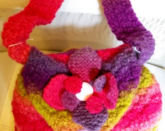 Funky and fun, this hand knitted bag