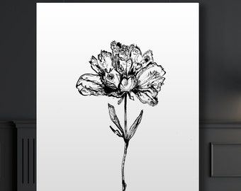 Botanical Giclee Art Print of ink illustration, Peony