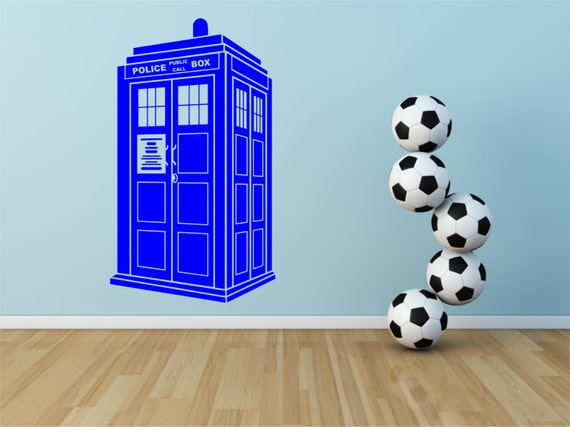 dr who tardis design decal wall sticker 100cm x 58cm. Black Bedroom Furniture Sets. Home Design Ideas